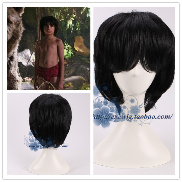 Movie The Jungle Book Boy Mowgli Cosplay Wig Short Black Hair Wig Costumes Fits For Person Age 7 Aliexpress