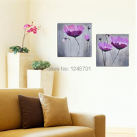 Modern twins purple flower oil painting on canvas for wall decor