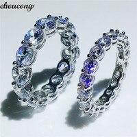 Choucong Вечность Обручальное кольцо круглой огранки 4 мм/6 мм 5A Циркон Сона Cz 925 пробы серебро Обручение кольца для женщин Для мужчин подарок