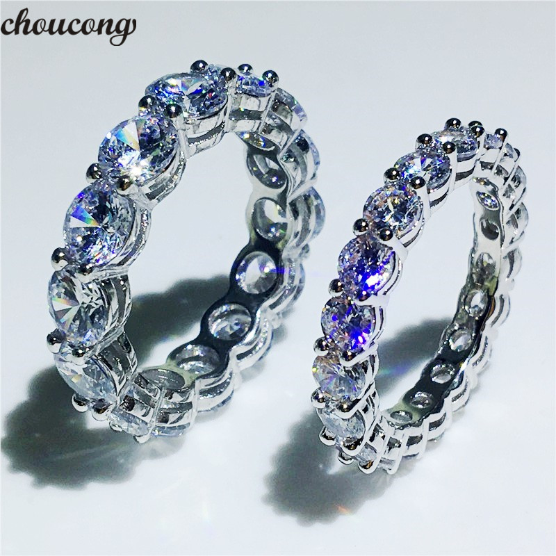 choucong Eternity Wedding Band Ring Round Cut 4MM/6MM 5A Zircon Sona Cz 925 Sterling Silver Engagement Rings for Women Men Gift