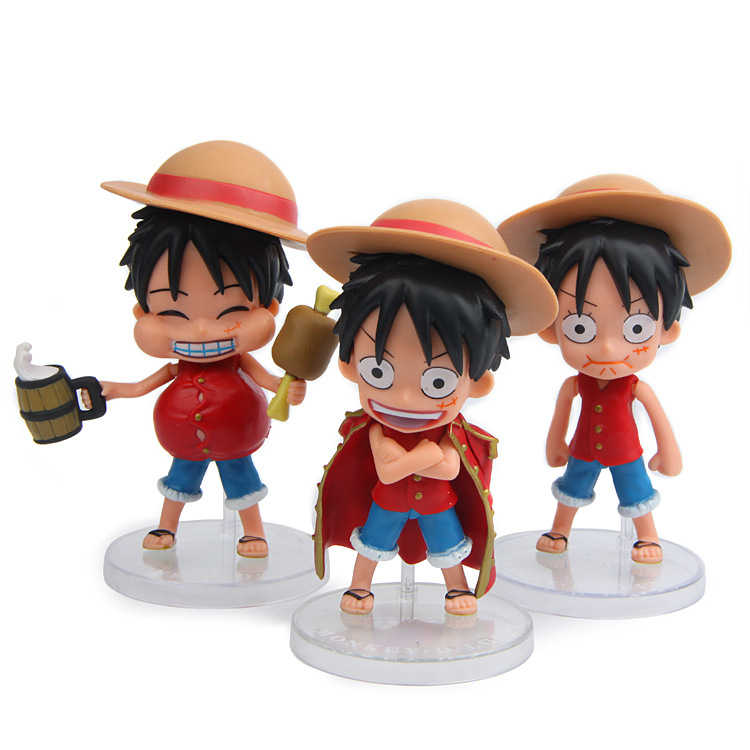 3pcsset One Piece Action Figure Cartoon Toy Anime Home Car Room Decor Kids Birthday Gifts Christmas toys for children Figures