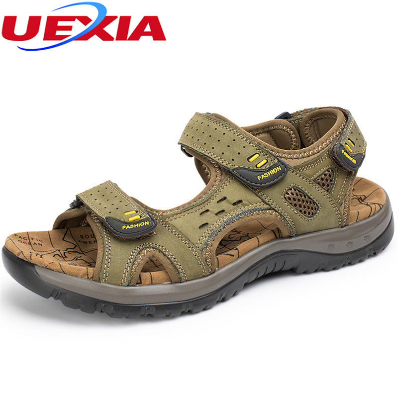 New Fashion Summer Leisure Outdoor Casual Massage Soft Sole Beach Men Shoes High Quality Leather Rubber bottom Mens Sandals