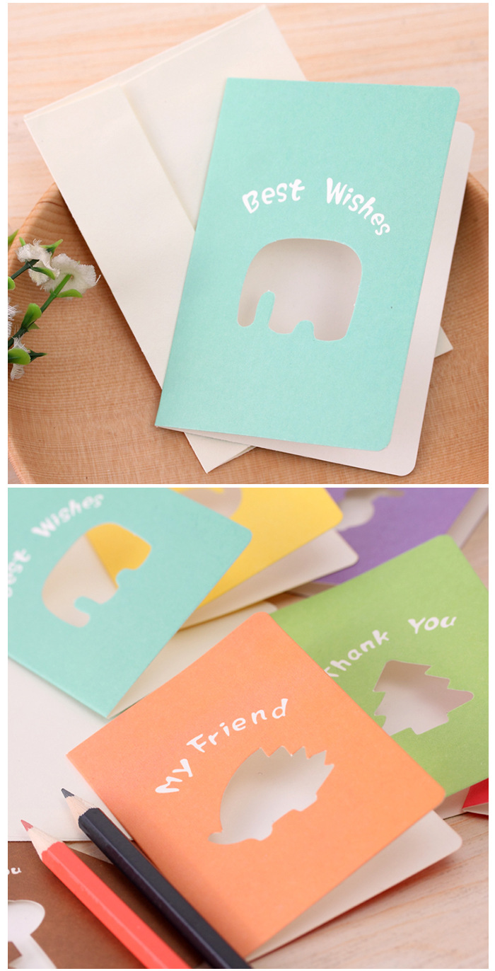 2pcslot Hot Sale Pony Candy Color Hollow Christmas Greeting Card