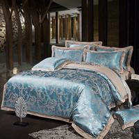 Poly Cotton Satin Floral Bedding Set Light Blue Duvet Cover Set With 1 Flat Sheet And