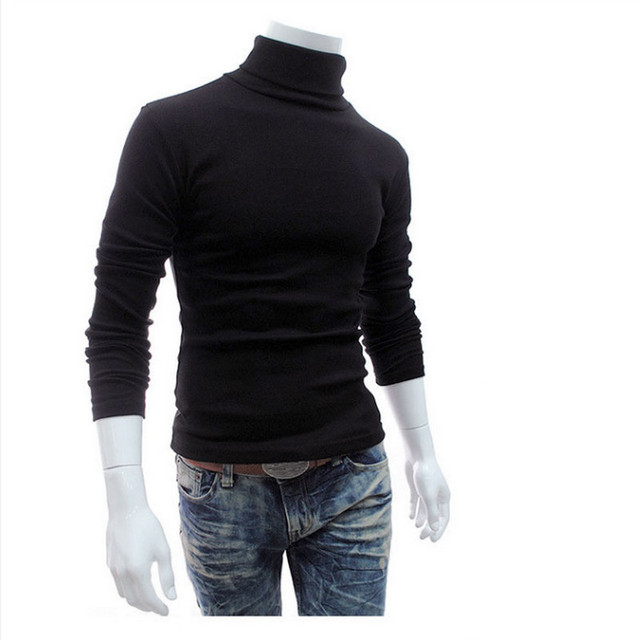 New Turtleneck Solid Color Casual Sweater Slim Fit Brand Knitted Pullovers 1