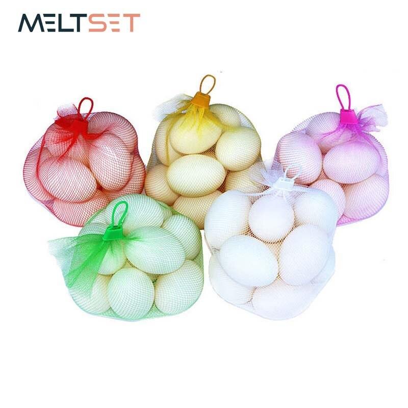 50pcs/lot Grocery Bag Nylon Mesh Fruit Vegetable Bag Reusable Kitchen Bag Shopping Nut Egg Bag with Portable Handle for Travel