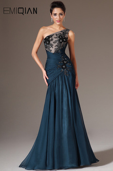 Dark Blue Chiffon Evening Gowns,One Shoulder Mermaid Evening Dresses,Black Lace Applique Long Formal Evening Party Gowns