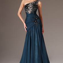 Evening-Gowns Mermaid Formal Black Dark-Blue Long Chiffon Lace One-Shoulder Applique