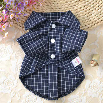 New Design Summer Plaids Grid Checker Pet Dog Puppy Shirts lapels Coat Clothes For Classic Small Dogs T-shirt Vest Pets Apparel 1