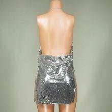 OMILKA Sexy Club Dress 2017 Women Sequin Sleeveless Strap Backless Split Dress Silver Glitter Bling Party Mini Sequined Dress