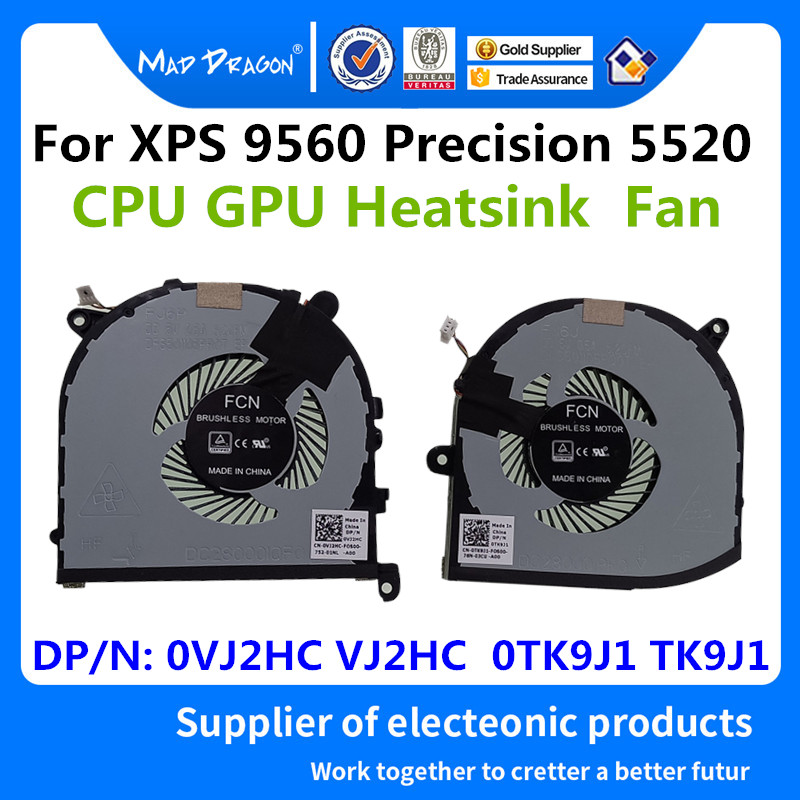 New CPU+GPU Cooling Fan for Dell XPS 15 9570 0TK9J1 008YY9