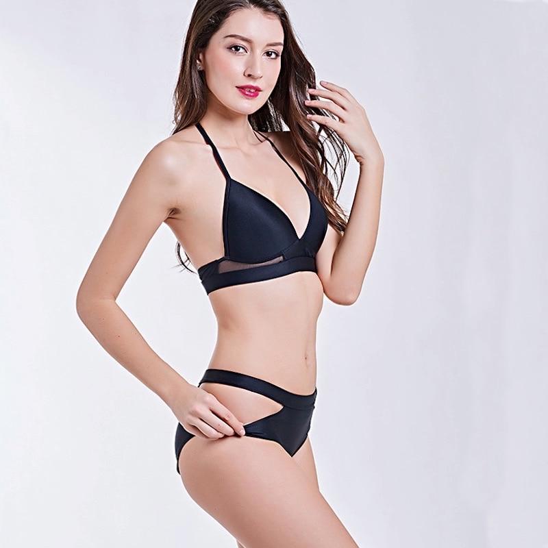 1872 Women Mesh Panel Bandage Bikini Set Beach Bathing Suit Swimwear Suit Push Up Bikinis Suit Brazilian Lady Swim 2018 New