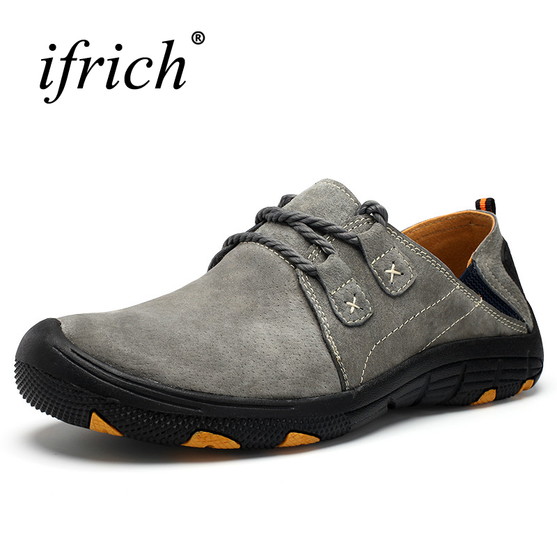 Mountain Shoes Men Leather Hiking Trekking Sneakers Spring/Autumn Mountain Walking Shoes Gray/Red Lightweight Hunting Boots