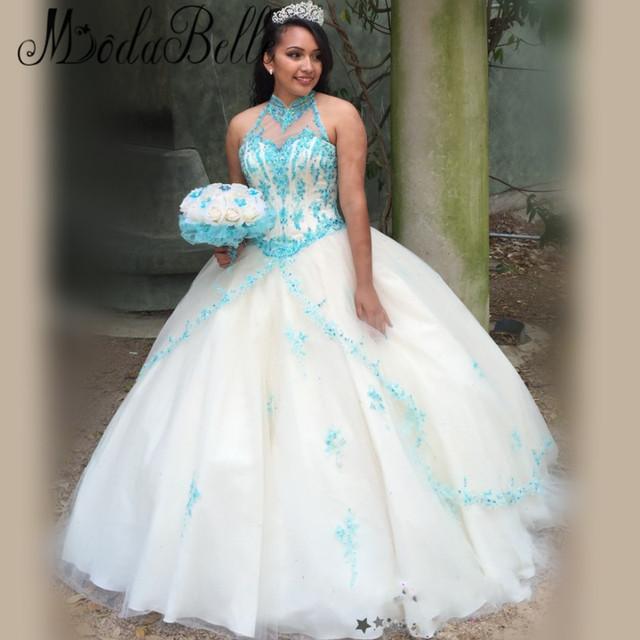2016 Simples de Cristal Ilusão Lace Doce Vestido de 16 Bola Quinceanera Vestidos de Organza Masquerade 15 Festa de Aniversário Vestido