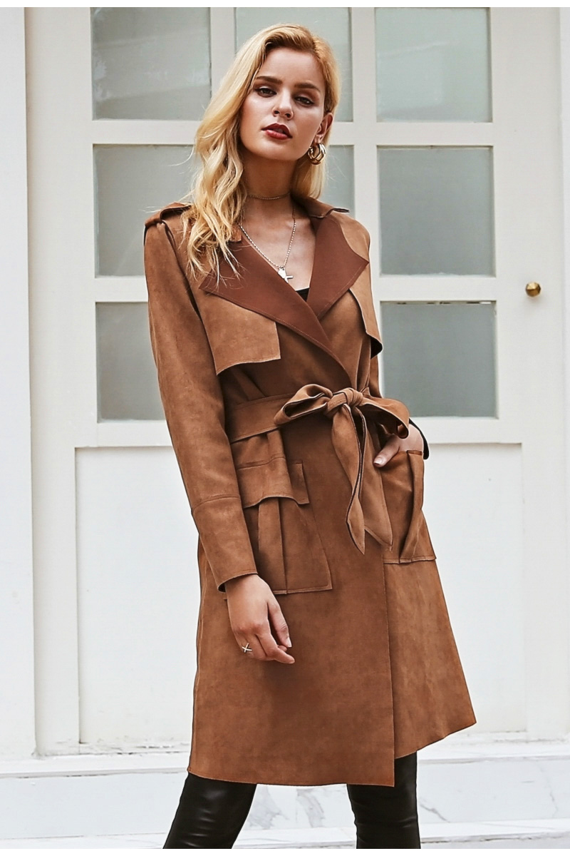Simplee Turn down collar sash suede trench coat Casual leather pocket long women autumn coat Winter warm outwear overcoat female 4
