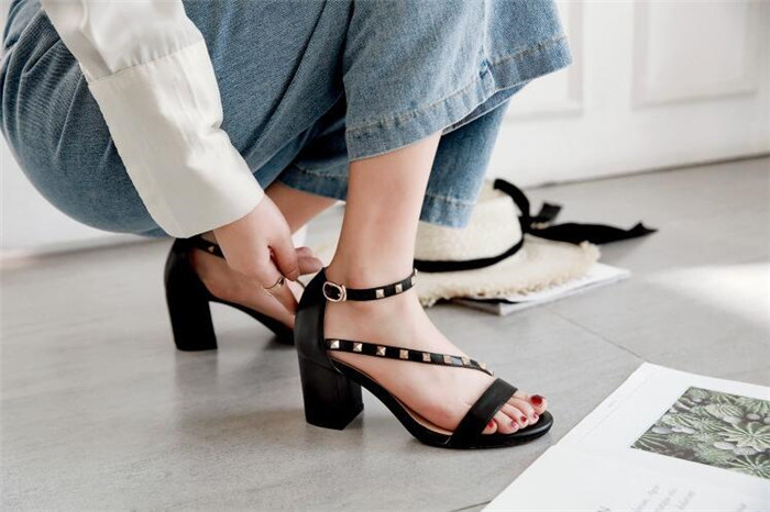 54e27c1249c8 Ch women open sandals heel toed leather new shoes heeled sexy shoes shoes  high kwok women ...