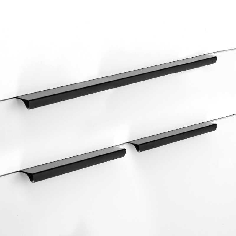 Aobite Zwart Lange Onzichtbare Handvat 120 Mm Aluminium Kastdeur Donkere Handvat Kast Verborgen Kabinet Knop Groothandel Handvat 9003
