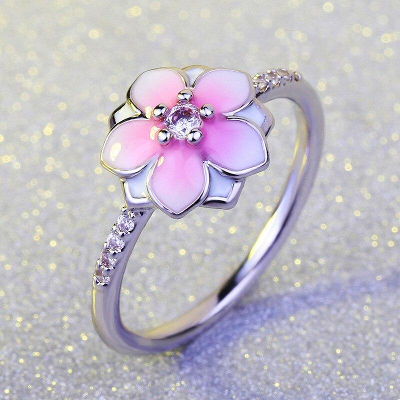 2018 Neue Ankunft Weibliche Mädchen Nette Rosa Blume Ring Mode 925 Silber Hochzeit Schmuck Versprechen Engagement Ringe Für Frauen