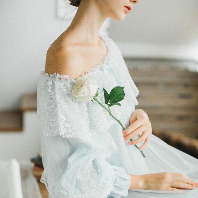 New Women Sexy Gauze Lace Cotton Princess Nightgown Ladies Vintage Sleepwear Women Nightwear European Retro Style Dress QW1713