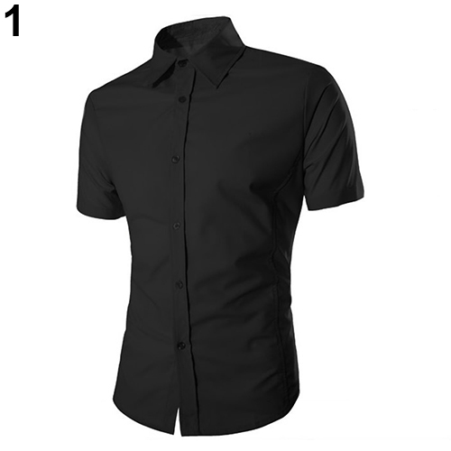 Fashion Men's Casual Slim Fit Shirt Business Short Sleeve Turndown Collar Shirt
