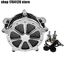 Motorcycle Air Cleaner Intake Filter All Chrome For Harley Touring Street Glide Road King Electra Glide 2017 2019 Softail 2018
