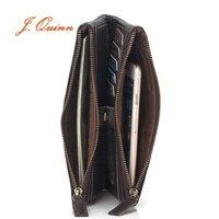 J Quinn Long Cowhide Leather Zipper Wallet Handbag Oil Wax Suit Bag Wallet Zipper Bag Storage