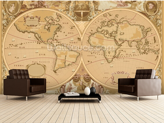 Custom retro wallpaper,Antique World Map,3D photo mural for the living room bedroom kitchen background wall waterproof wallpaper the physical world wall map material laminated