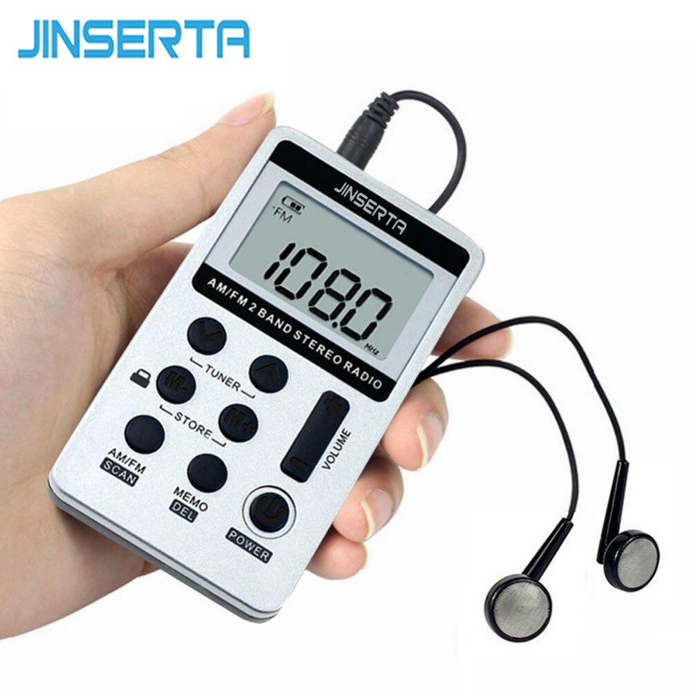 JINSERTA Rádio Portátil FM/AM Digital Portátil Mini Receptor Com Bateria Recarregável & Fone De Ouvido De Rádio + Cordão
