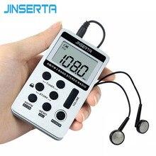JINSERTA ポータブルラジオ FM/AM デジタルポータブルミニレシーバー充電式バッテリー & イヤホンラジオ + ストラップ