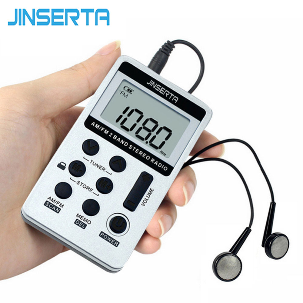 JINSERTA Portable Radio FM/AM Digital Portable Mini Receiver With Rechargeable Battery& Earphone Radio+Lanyard 100pcs pr13 dsp portable fm radio receiver pocket radio for large meeting simultaneous interpretation with earphone f9213