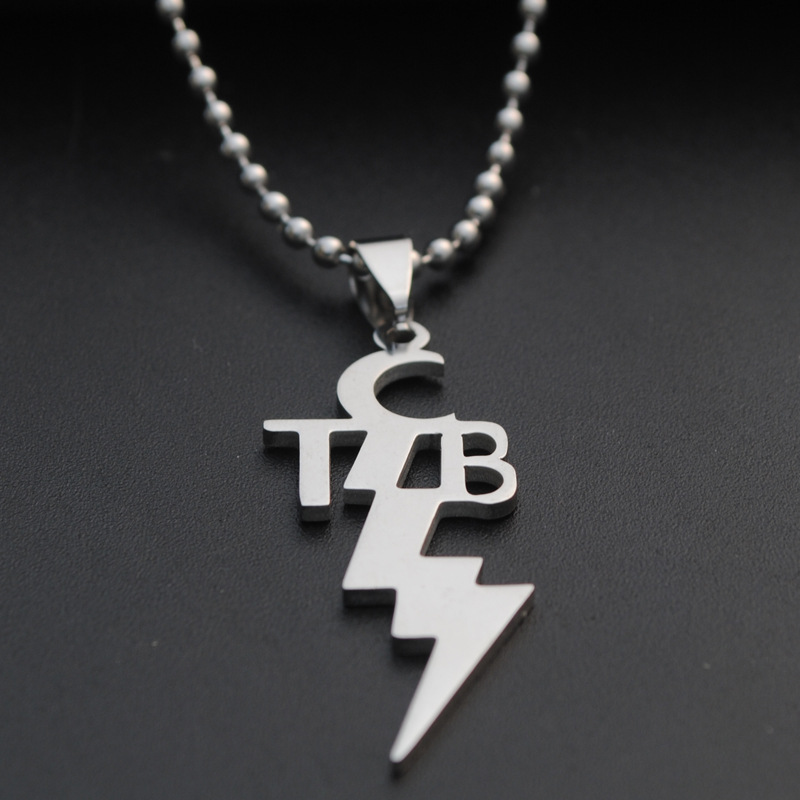 1pcs New Women men Fashion Stainless Steel pendant TCB <font><b>ELVIS</b></font> <font><b>PRESLEY</b></font> Necklace With 50cm Steel Link Chain Jewelry
