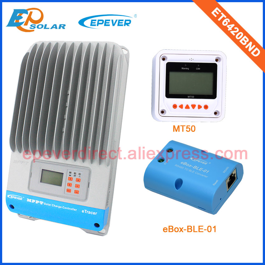 Factory Price MPPT solar <font><b>battery</b></font> regulator <font><b>60A</b></font> ET6420BND with BLE funciotn and white MT50
