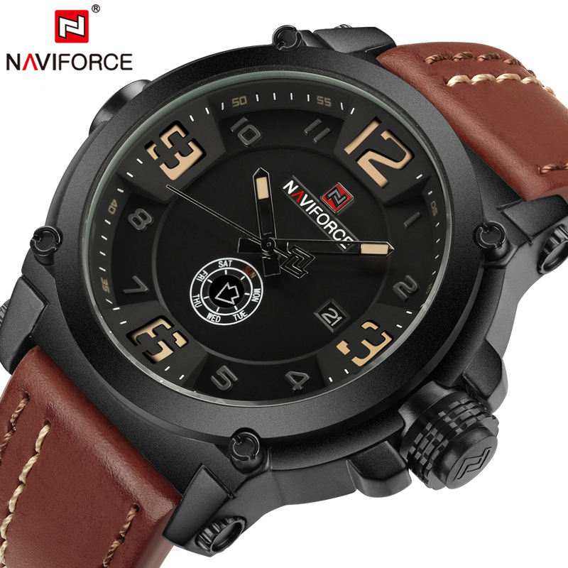 все цены на NAVIFORCE Luxury Brand Watches Men Military Sport Waterproof Quartz Watch Man Leather Wristwatch Male Clock relogio masculino онлайн