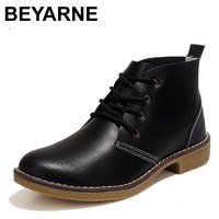 BEYARNE Factory Wholesale 100% Genuine Leather Short Boots Classical women Lace Up Ankle Martin Boots Ladies Brand Flat Shoes