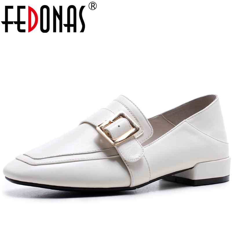 FEDONAS Brand Shoes Woman Casual Buckles Round Toe Genuine LeatherOxford Shoes for Women Flats Comfortable Slip on Shoes Woman fedonas retro black brown women flats heels shoes round toe buckles slip on new spring casual shoes women genuine leather shoes