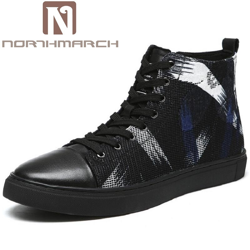NORTHMARCH Brand Mens Shoes Fashion Handmade Basic Boots Canvas Boots Casual Lace-Up Ankle Print Boots High-Top Botte Homme eyelet lace botanical print top