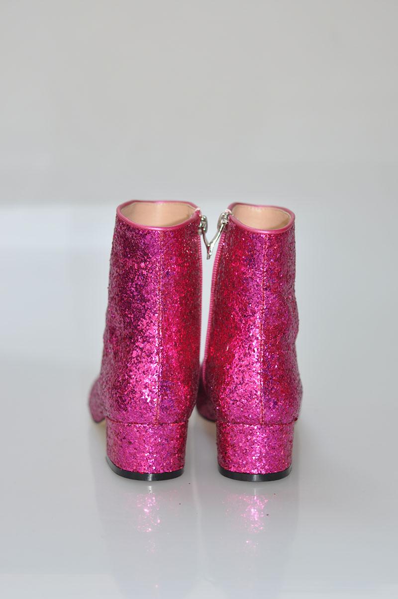Round Toe Ladies Zipper Martin Boots Hot Pink Bling Glitter Women ... a42324e139e0