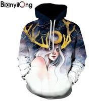 Hot Sale Autumn Winter Fashion Men Women Hoodies Beauty Grow Antlers Hooded Hoody Sweatshirt 3d Hoodies