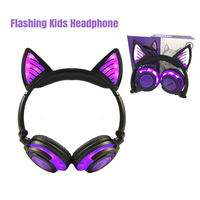 Gaming Headsets Kid Headphones LED Flashing Wireless Headphones Cat Ear Glowing Headphones for PC Computer Phones for Adult Kids