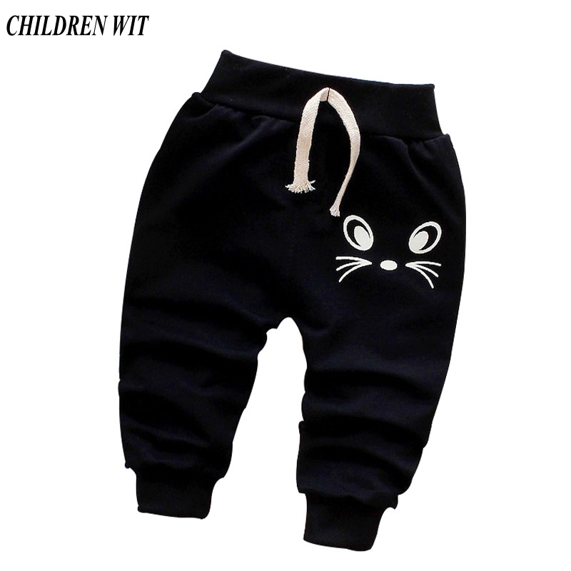 CHILDREN WIT Spring Autumn New Baby Pants Cotton Good Quality Cute Cat Trousers Baby Boys Pants 0-3 Years Kids Pants For Girls