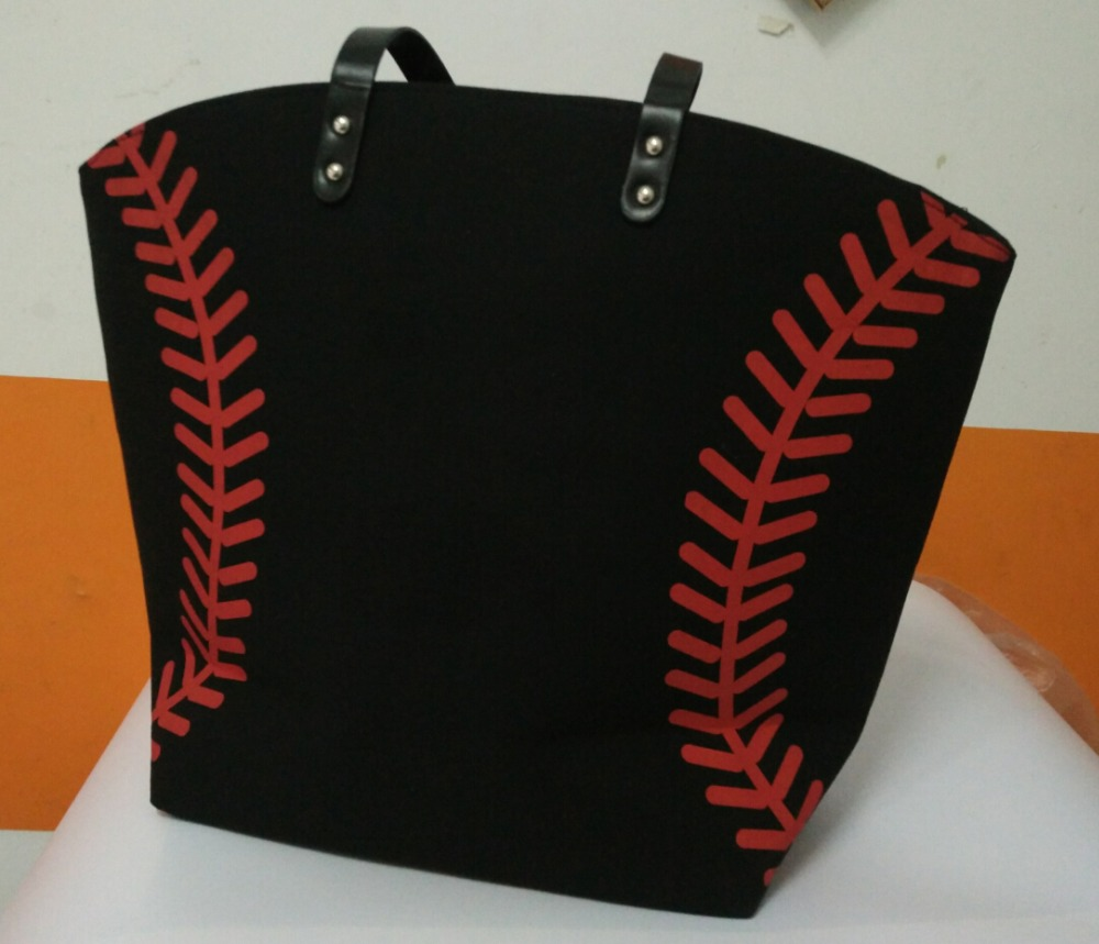 Rapture Shopping Bag Black Yellow Softball White Baseball Jewelry Packaging Blanks Kids Cotton Canvas Sports Baseball Softball Tote Bag