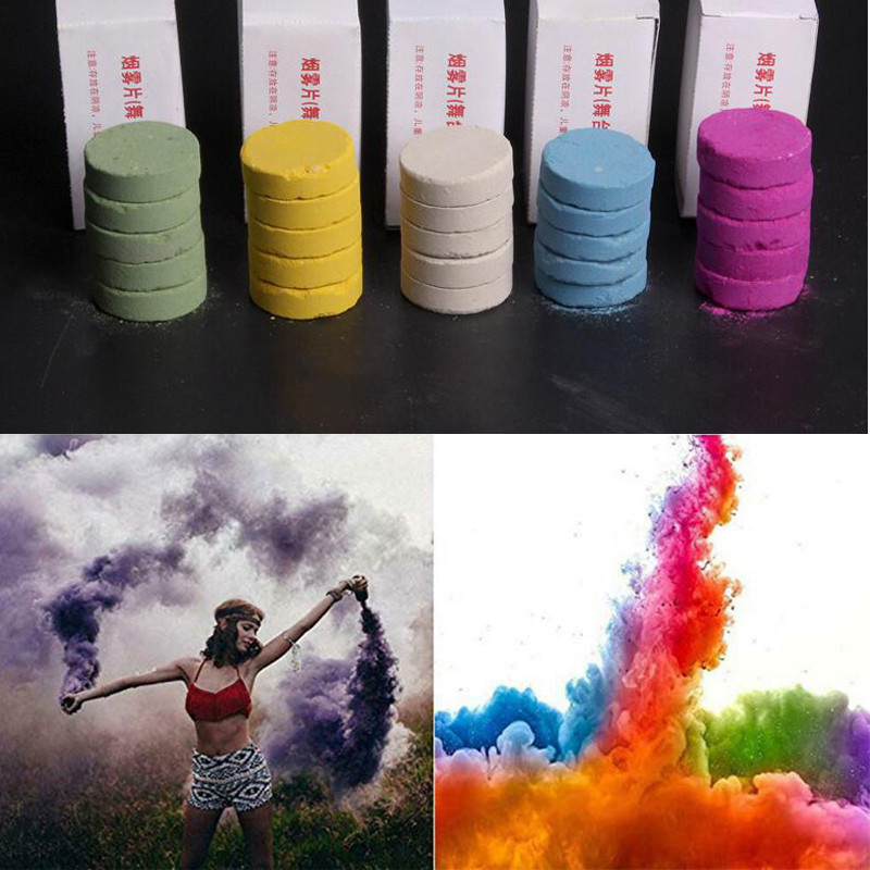 5pcs Colored Smoke Pills Props Combustion Smog Smoke Bomb Pills Colorful Pyrotechnics Background Portable Prop Magic Tricks