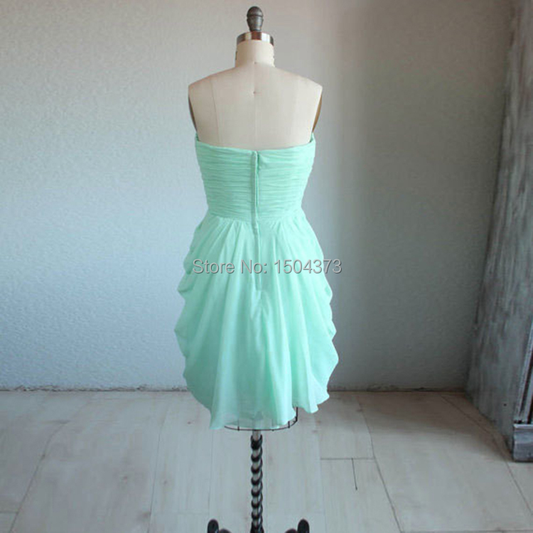 Hot Sale Mint Green Short Prom Dresses Summer Beach Bridesmaid Dresses 2015  Sweetheart Pleated Ruffles Party Gowns Real Images-in Bridesmaid Dresses  from ... 3a59ab46d5ba