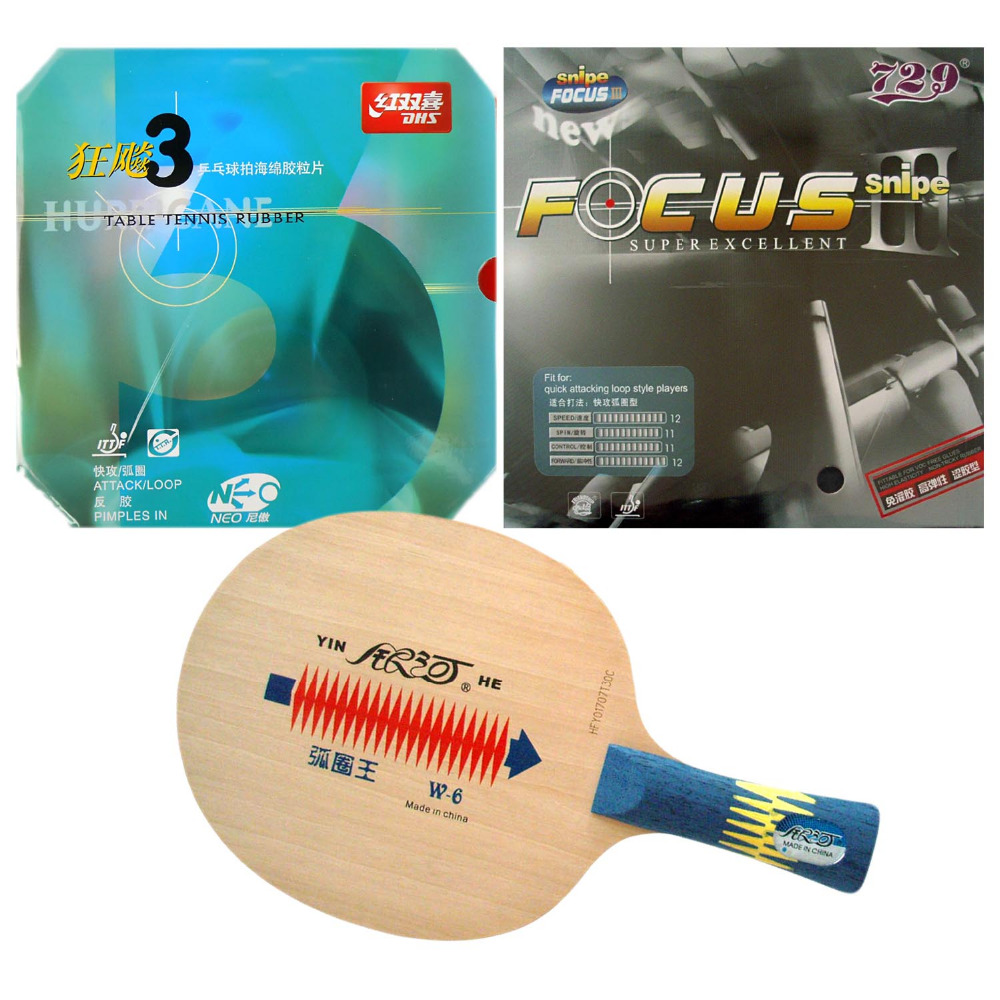 Original Pro Table Tennis PingPong Combo Racket Galaxy Yinhe W-6 With RITC729 FOCUS3  And DHS NEO Hurricane 3