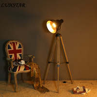 American Retro Nostalgic Standing Lamp Industrial Loft Three legged Solid Wood Floor Lamp Living Room Home Deco Designer Lamps