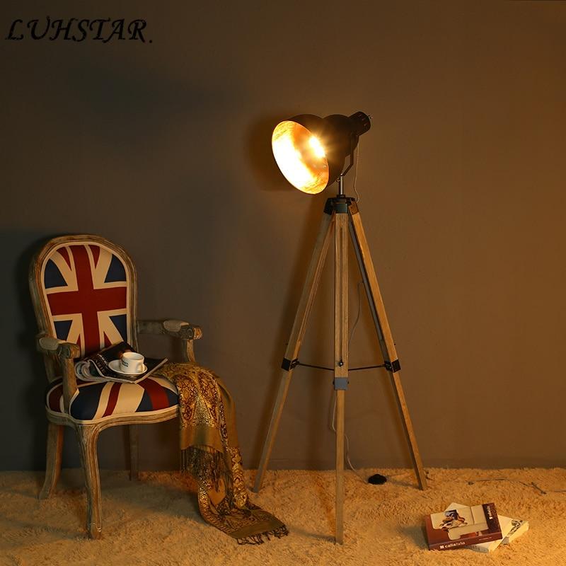 Amerikaanse Retro Nostalgische Staande Lamp Industriële Loft Driepotige Massief Houten Vloer Lamp Woonkamer Thuis Deco Designer Lampen