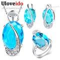 Uloveido Brincos Joyería de Plata Azul Púrpura Sintético Piedra CZ Diamond Joyería Collar y Aretes Brincos Set T156