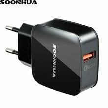 SOONHUA QC3.0 Portátil USB Carregador de Telefone Celular Adaptador de Carregador Rápido DA UE/EUA Parede Carregador de Viagem Rápida Cabo de Carga USB para o iphone