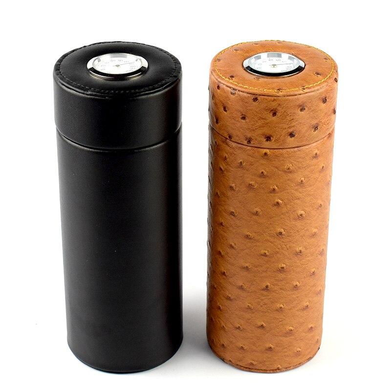 COHIBA mallette à cigares de voyage Portable   Noir/kaki en cuir et cèdre, lampe à cigares en bois avec hygromètre + humidificateur