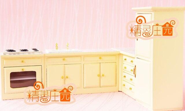 1:12 escala de la cocina muebles de madera miniatura 5in1 juego ...